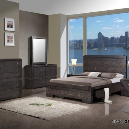 Luxury Crystals Wooden Bed NPK 2112 Modern Bedroom Set Furniture made from Malaysia