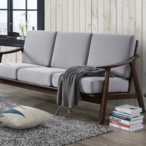 ASIAN OAK 3 SEATER FABRIC SOFA