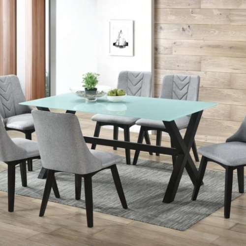 ROCCO GLASS TABLE + MAPLE CHAIR 1+6 DINING SET