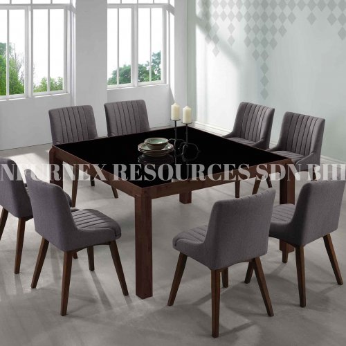 G-SQUARE TABLE + NICOLE CHAIR 1+8 DINING SET