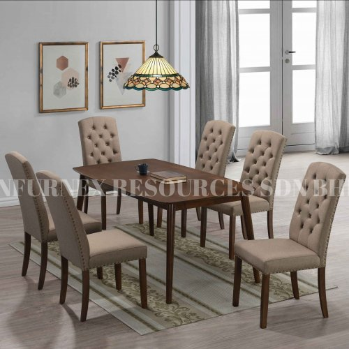 CHARLOTTE TABLE + EVORA CHAIR 1+6 DINING SET