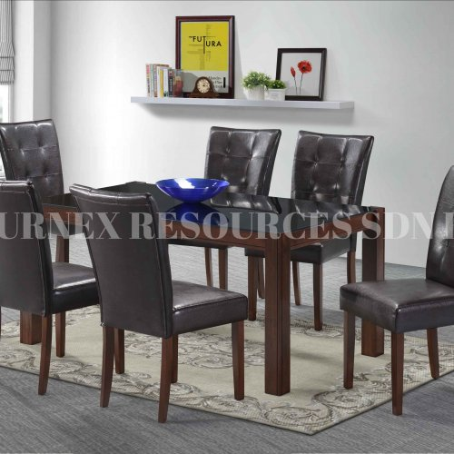CLASSY GLASS TABLE + EDEN CHAIR 1+6 DINING SET