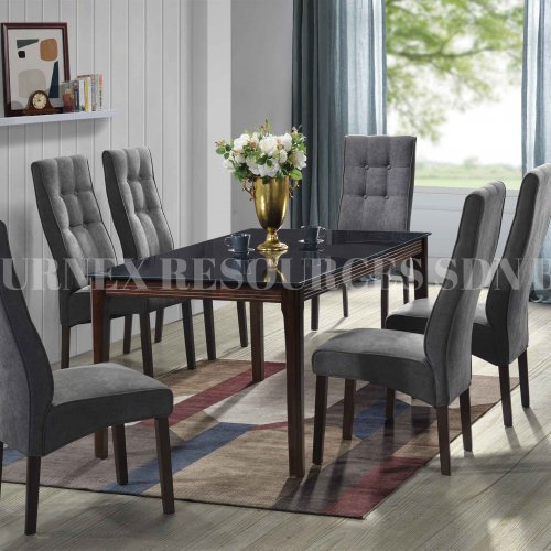 PLATINUM GLASS 1+6 DINING SET
