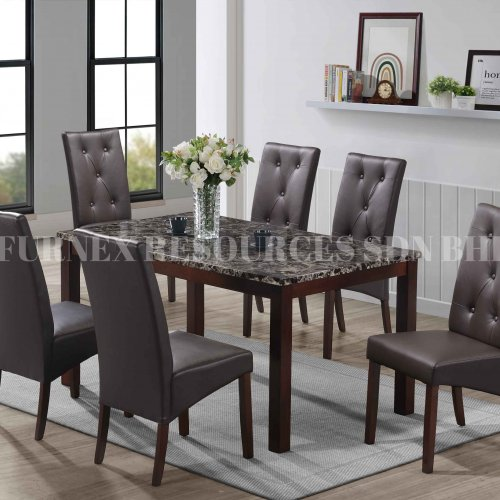 SKY TABLE + BROWNY CHAIR 1+6 DINING SET