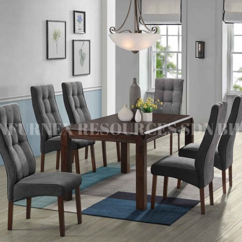 SOFIA TABLE + PLATINUM CHAIR 1+6 DINING SET